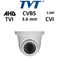 Κάμερα TVT 7554AE/SW 3.6MM TVI/AHD/CVI/CVBS 5MP Λευκή Dome