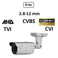 Κάμερα KTEC E200VW AHD/TVI/CVI/CVBS 1080p 2.8-12MM Λευκή Bullet