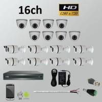 Σετ Σύστημα παρακολούθησης 16ch HD 720P AHD Bullet + Dome