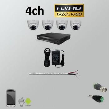 Σετ Σύστημα παρακολούθησης 4ch Full HD 1080P AHD Dome